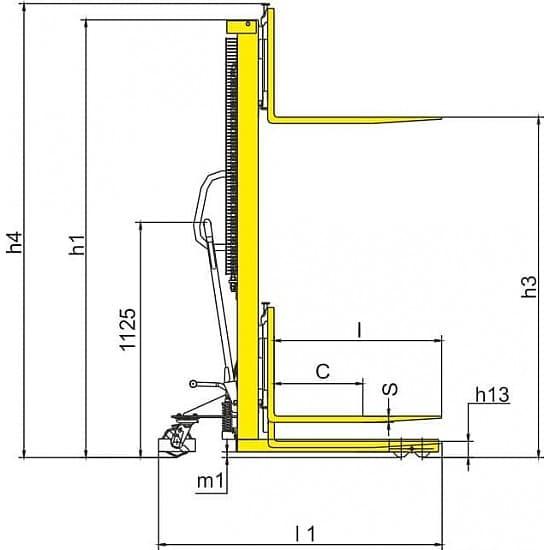 SDJA1000 г/п 1000 кг, высота подъема 2500 мм
