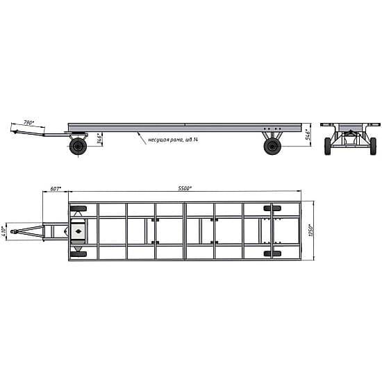 БТ 5 К 2, платформа1250х5000 мм, каркасная